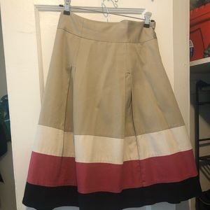 Eloquii Khaki Skirt with beige, pink, & navy